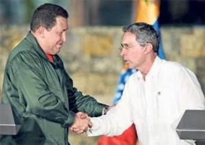 President Chavez (Venezuela) meets  President Uribe (Colombia)