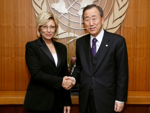 Mrs. Sevil Atasoy INCB President met UN Secretary Gral Ban Ki Moon to review and discuss international drug control issues